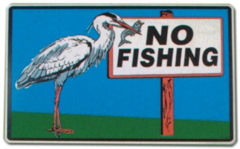 Hinweisschild - No Fishing - Angeln Fisch Fischen Fischerei Fischereigrenze Schild Warnschild Warnzeichen Arbeitssicherheit Türschild Tür Kunststoff Kunststoffschild Geschenk Geburtstag