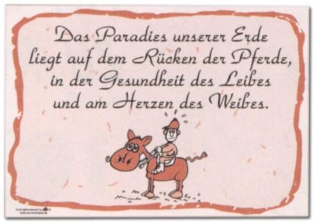 Hinweisschild - Das Paradies unserer Erde liegt auf dem Rücken der Pferde ... - Pferd Reiten Schild Warnschild