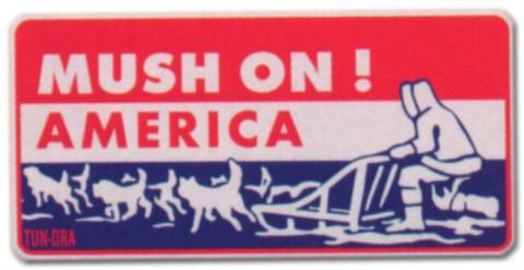 PST-Schild - Mush on ! America - Hund Amerika Huski Schild Warnschild Warnzeichen Arbeitssicherheit Türschild Tür Kunststoff Geschenk Geburtstag