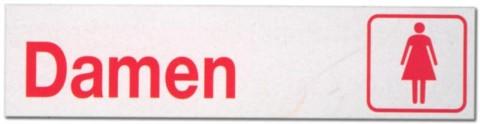 Hinweisschild - Büroschild ohne roten Rand - Damen - Dame Frau Frauen Frauentoilette Toilette Toiletten Herrentoilette Klo Schild Warnschild