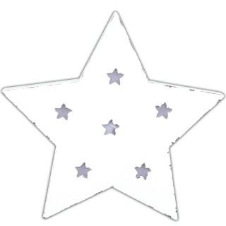 Leuchtender Stern aus Holz ~ weiß ~ mit LED ~ SHABBY LOOK ~ zum Stellen oder Hängen ~ 33 x 32 cm