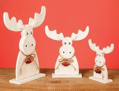 Niedliche Elch Figuren als 3er Set in verschiedenen Größen aus Holz - 26cm hoch!