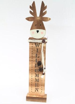 Leuchtender Elch aus Holz - WILLKOMMEN - LED - 66cm hoch
