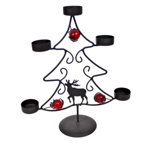 Teelicht-Halter aus Metall mit Elch - Baum aus Metall - 30 x 27,5 x 10 cm