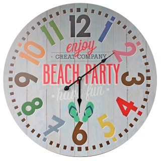 Riesige XXL Maxi Wanduhr - enjoy Beach Party have fun / bunt - d=58cm - Vintage Shabby Uhr