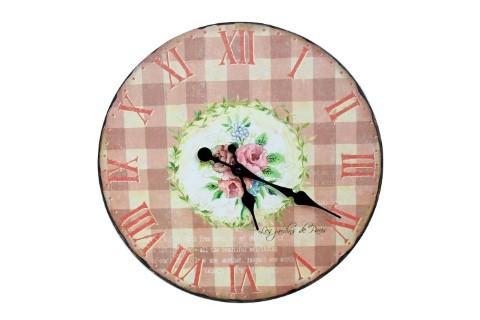 Große Wanduhr - Rosen / Paris / Blumen / rosa kariert - d=36cm - Vintage Shabby Uhr