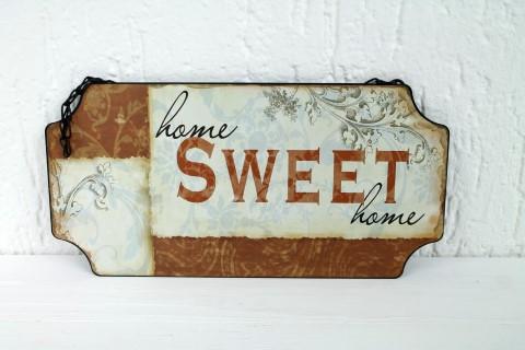 Schild aus Metall zum hängen - Home Sweet Home - Mit Kette - Türschild ca 30x15cm