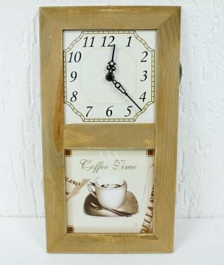 Nostalgische Uhr für Küche - Coffee Time - aus Holz mit Wandfliese