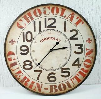 Riesige XXL Maxi Wanduhr - Chocolat Guerin Buotron - d=60cm - Vintage Shabby Uhr