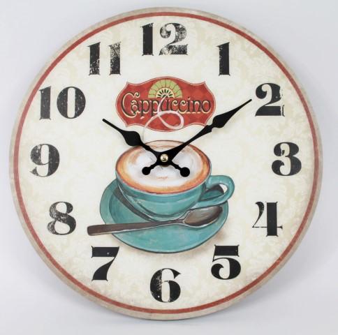 Wanduhr - Cappuccino - Tasse Kaffee - d=28cm - Vintage Shabby Uhr