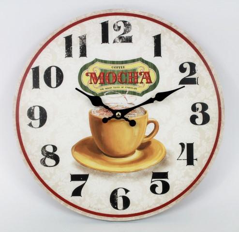 Wanduhr - Mocha - Tasse Kaffee - d=28cm - Vintage Shabby Uhr