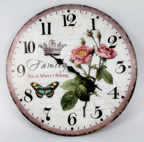 Wanduhr - FAMILY This is where I belong / Rosen - d=33cm - Vintage Shabby Uhr