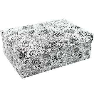 Geschenkbox ~ schwarz-weiß Ornamente Mandala ~ 18x10,5x7cm ~ 10798 ~ Kiste Box aus Pappe