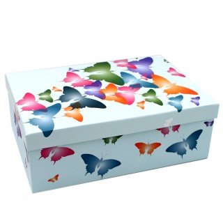 Geschenkbox ~ blau bunt Schmetterlinge ~ 21,5x12,5x8cm ~ 20798 ~ Kiste Box aus Pappe