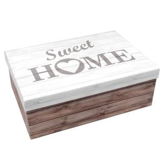 Geschenkbox ~ Sweet Home Holz-Look braun weiß grau ~ 28,5x20x10cm ~ 50798 ~ Kiste Box aus Pappe