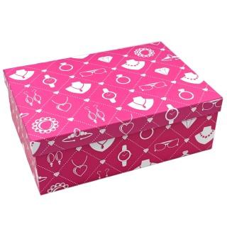 Geschenkbox ~ Motiv: Schmuck Accessoires in pink ~ 18x10,5x7cm ~ 10798 ~ Kiste Box aus Pappe
