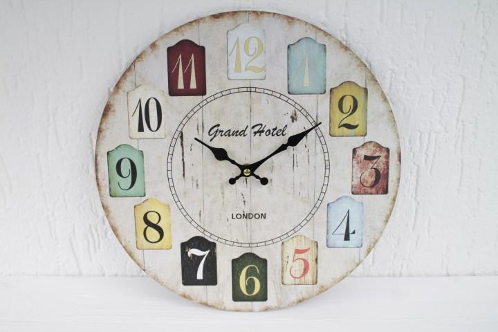 Wanduhr - Grand Hotel London - d=34cm - Vintage Shabby Uhr