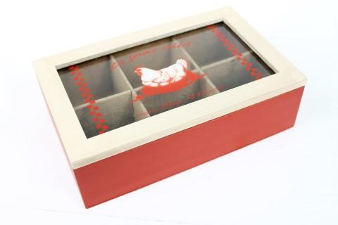 Teebox La ferme soleil - rot/beige - Tee Box - Cotton Landhaus Shabby