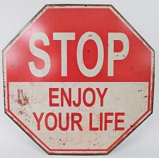 STOP - Enjoy your Life - Schild aus Holz im Retro Vintage Shabby Look