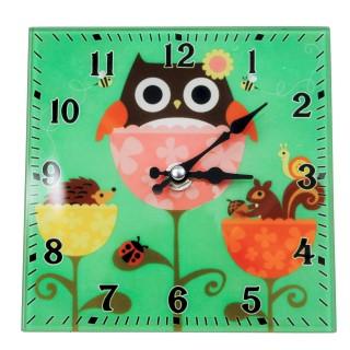 Wanduhr aus Glas zum stellen - Eule - 15 x 15 cm - Vintage Uhr