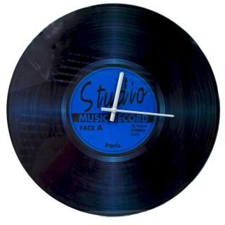 Große edle Wanduhr aus Glas - Schallplatte - BLAU - 42,5 cm - Vintage Uhr
