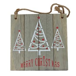 MERRY CHRISTMAS ~ süßes Schild aus Holz mit Jute Band ~ rot weiß grau ~ ca 18 x 18 cm