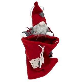 Kleiner Santa Wichtel mit Sack zum Stellen/Hängen ~ 24cm / rot grau ~ schöne Deko für Weihnachten Nikolaus