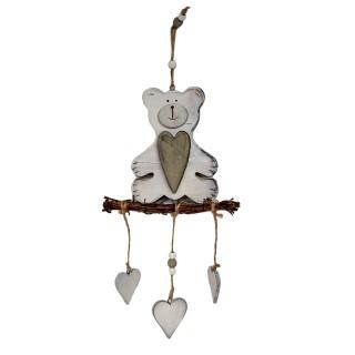Hänger Bär mit Herz ~ aus Holz ~ 41cm / weiß grau ~ schöne Deko nicht nur für Weihnachten