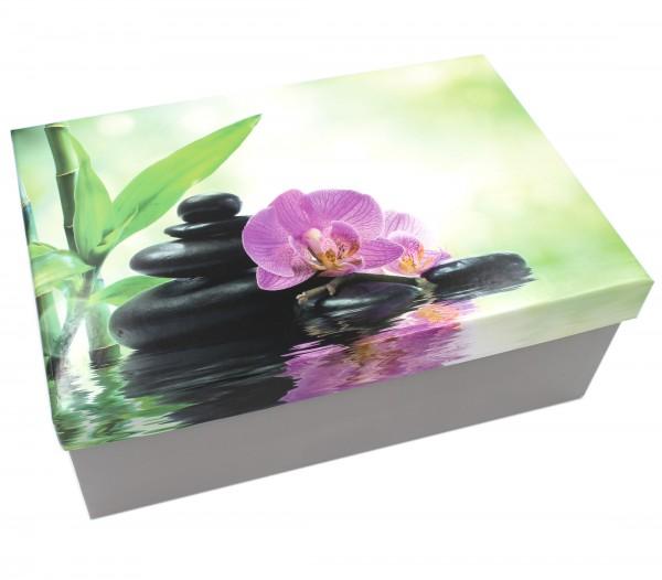 Geschenkbox, Asiatischer Garten - Zen Bambus Feng Shui , 21,5x12,5x8cm, 30792, Kiste Box aus Pappe