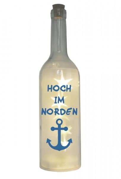 LED-Flasche mit Motiv, Hoch im Norden / Anker, blau, 29cm, Flaschen-Licht Lampe mit Text Spruch