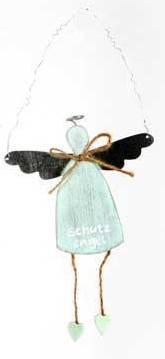 Deko Hänger - Schutzengel - hellblau - aus Holz 17cm - Engel Geschenk