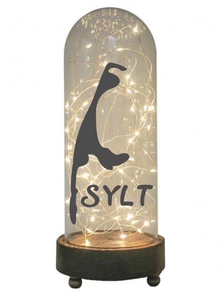 LED-Glaskuppel XXL mit Motiv, Insel Sylt Silhouette, grau, 29cm, Glas-Licht Lampe mit Text Spruch
