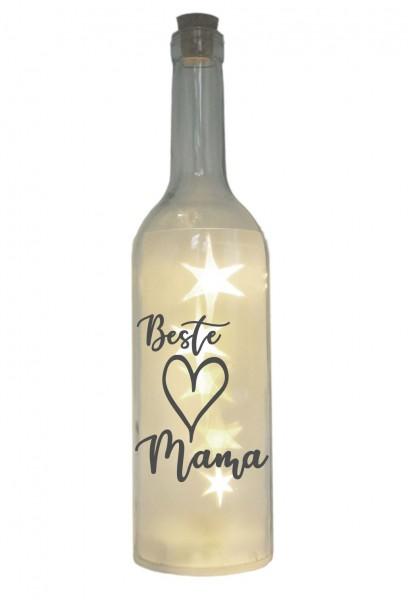 LED-Flasche mit Motiv, Beste Mama Herz, grau, 29cm, Flaschen-Licht Lampe mit Text Spruch