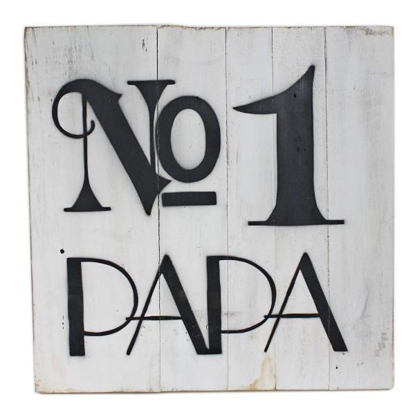 Massives Holz-Schild ~ No1 Papa ~ weiß ~ 30 x 30 cm ~ Shabby Look