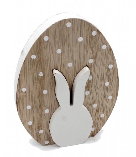 Süße Oster-Deko aus Holz, Oster-Ei mit Hase, natur weiß, 16cm, Frühling Ostern