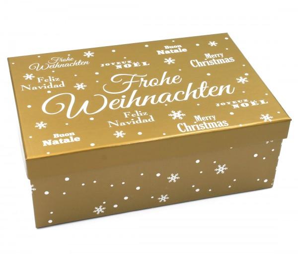 Geschenkbox, Frohe Weihnachten - gold, Größe&Farbe wählbar, 21,5x12,5x8cm, 427829, Kiste Box aus Pappe