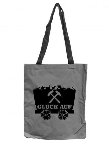 Reflektor-Tasche Ruhrpott Lore Glück Auf, grau-silber REFLEKTIERT! Einkaufs-Beutel mit Innentasche, Einkaufstasche Tragetasche Shopper Shopping-Bag