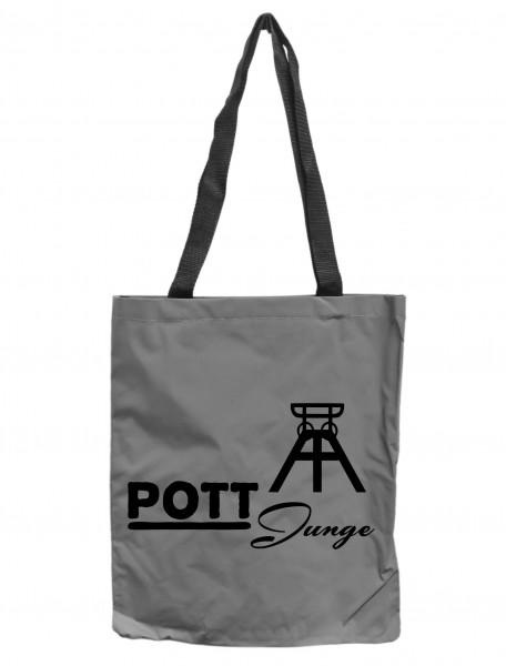 Reflektor-Tasche Ruhrpott Pott-Junge, grau-silber REFLEKTIERT! Einkaufs-Beutel mit Innentasche, Einkaufstasche Tragetasche Shopper Shopping-Bag