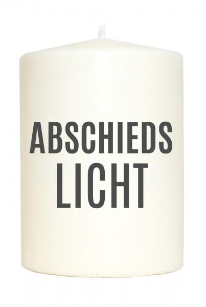 Kleine Spruchkerze weiß, Abschieds-Licht, Aufdruck grau, 10x7cm, Trauer-Kerze Gedenk-Kerze mit Spruch Motiv-Kerze