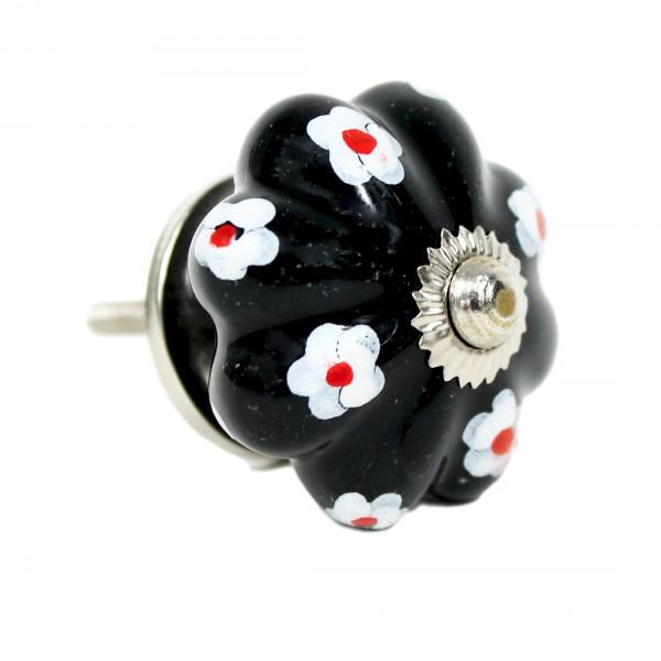 schwarz, Blüten - Vintage Keramik Möbelknauf zum schrauben - Motiv 4