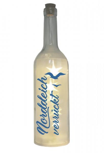 LED-Flasche mit Motiv, Norddeich verrückt mit Möwen, blau, 29cm, Flaschen-Licht Lampe mit Text Spruch