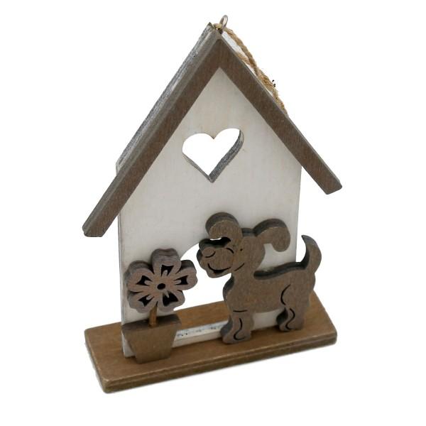 Süßer Holz-Hänger für Tür, Wand, Balkon, etc ~ Hund ~ aus Holz ~ grau weiß ~ 14c