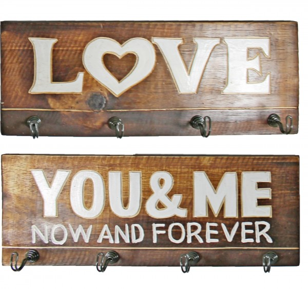 2er Set, Garderobe Schlüsselhaken Tuch-Halter, LOVE YOU AND ME, aus Mango-Holz, jeweils 40 x 14,5 cm