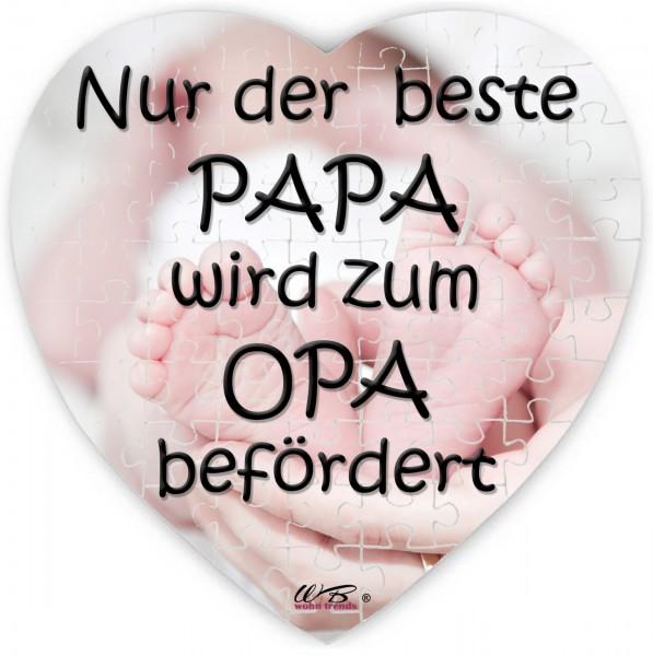 Puzzle-Botschaft Herz, Nur der beste Papa wird zum Opa befördert - Babyfüße, 75 Teile 19x19cm inkl. Geschenk-Beutel, WB wohn trends®