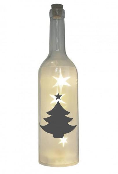 LED-Flasche mit Motiv, Tannenbaum Weihnachtsbaum Weihnachten, grau, 29cm, Flaschen-Licht Lampe mit Text Spruch