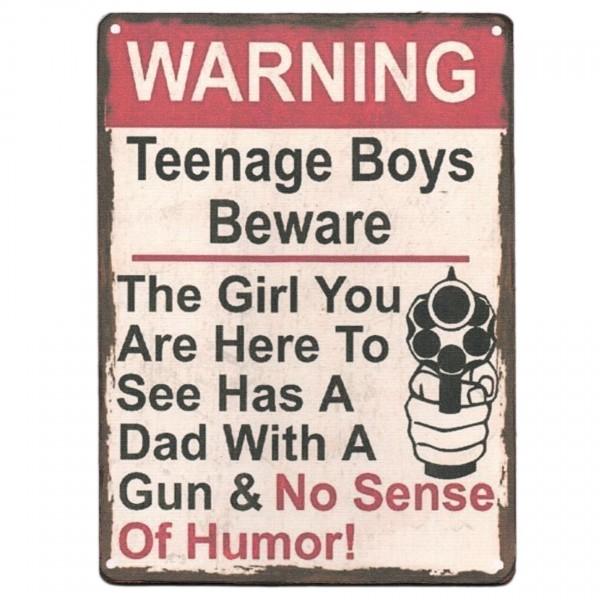 ~ Warning Teenage Boys Beware, Schild aus Holz mit Leinen-Aufdruck, 19 x 14 cm