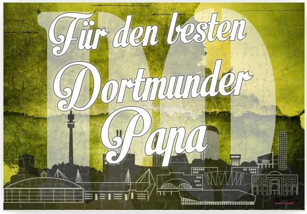 Puzzle-Botschaft eckig, Für den besten Dortmunder Papa - Dortmund, 120 Teile 27x18cm inkl. Geschenk-Beutel, WB wohn trends®
