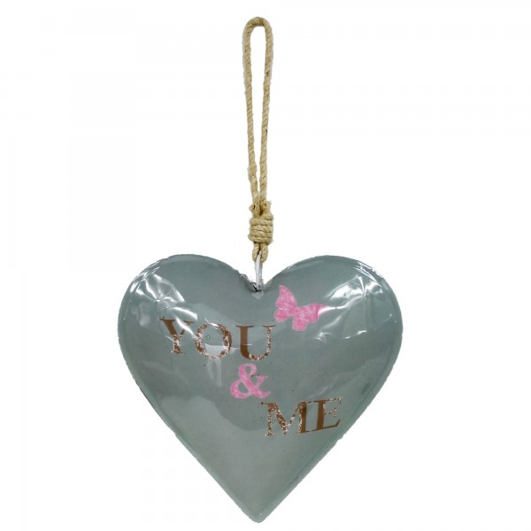 Buntes Herz zum Hängen, YOU & ME, aus Metall, ca 32cm lang, grau