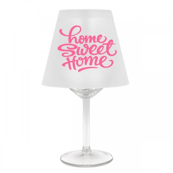 Lampenschirm für Weinglas, Home sweet home, A, rosa, Schirm ohne Glas, Windlicht