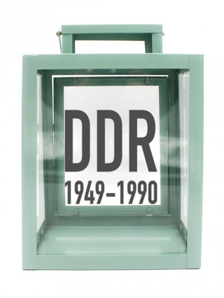 Metall-Laterne mit Aufdruck, DDR 1949 - 1990, mint-grün, 25x18x13cm, für LED-Kerzen, Farbauswahl möglich